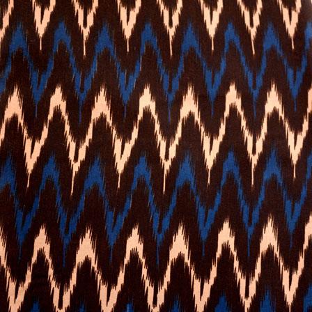 Blue-Brown and Beige Zig-Zag Design Kalamkari-Screen Fabric-5487