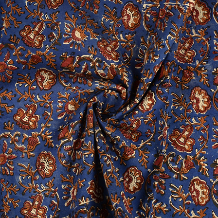 Blue-Brown and Black Floral Design Kalamkari Cotton Block Print Fabric-14376