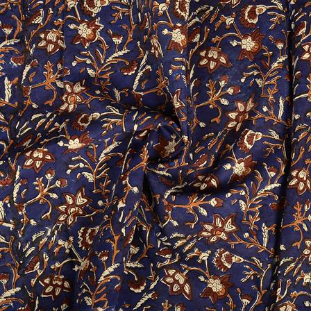 Blue-Brown and Black Floral Design Kalamkari Cotton Block Print Fabric-14379