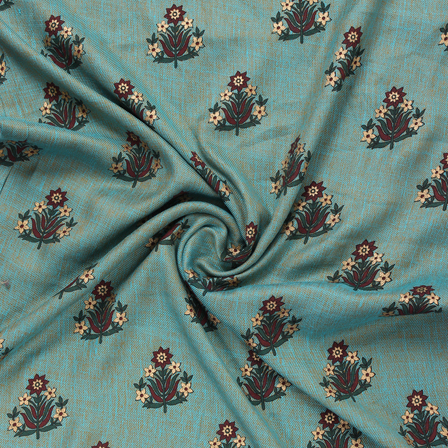 Blue-Brown and Golden Floral Jam Cotton Silk Fabric-75168