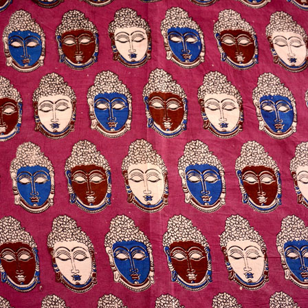 Blue-Brown and Pink Buddha Face Pattern Kalamkari Fabric-5469