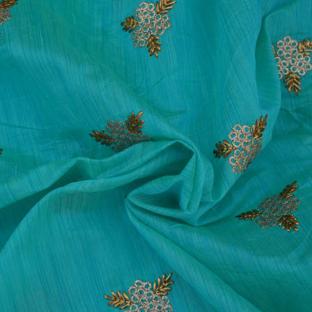 Blue Chanderi Silk Base Fabric With Gold Embroidery-60003