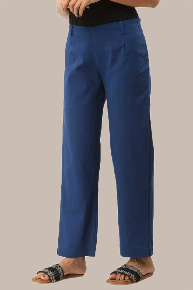 Blue Cotton Ankle Length Pant-33718