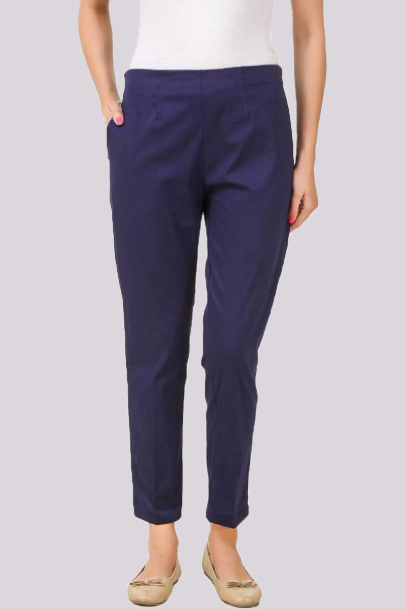Blue Cotton Flex Pant with Side Chain and Pocket-33394