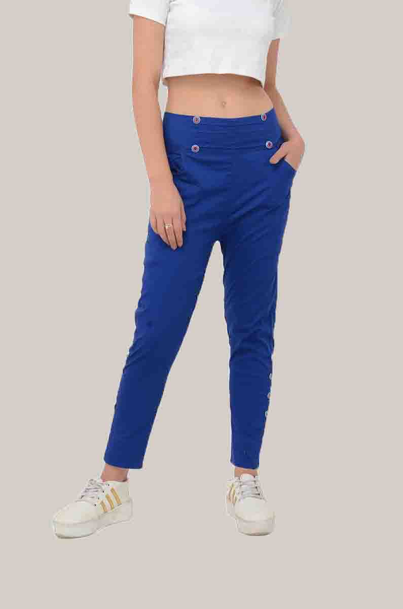Blue Cotton Lycra Roll Up Pant-33492