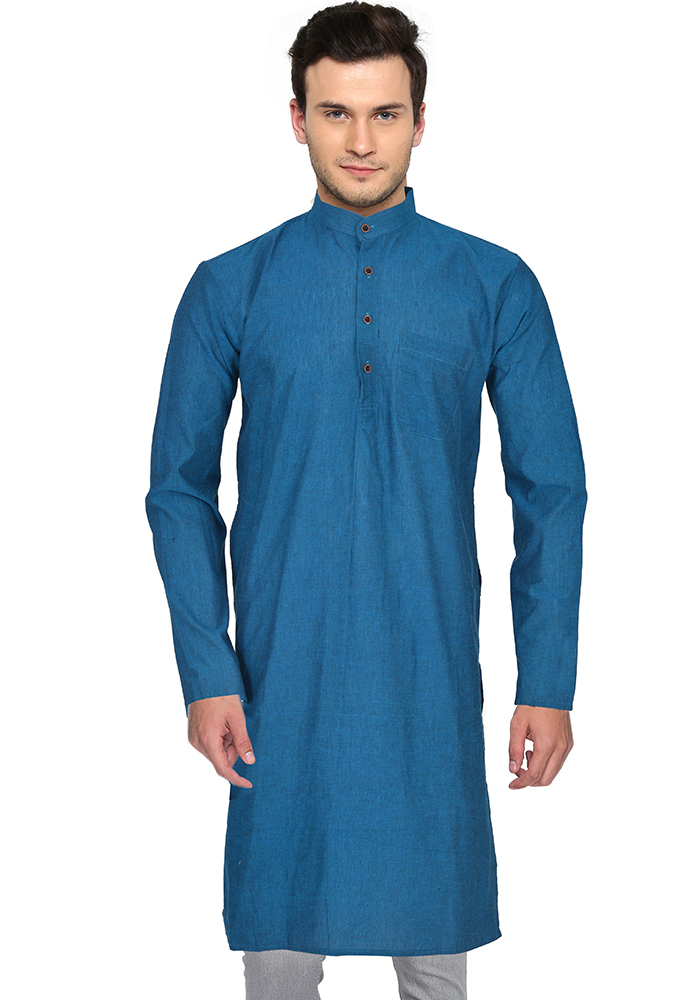 Blue Cotton Plain Handloom Khadi Long Kurta-33150