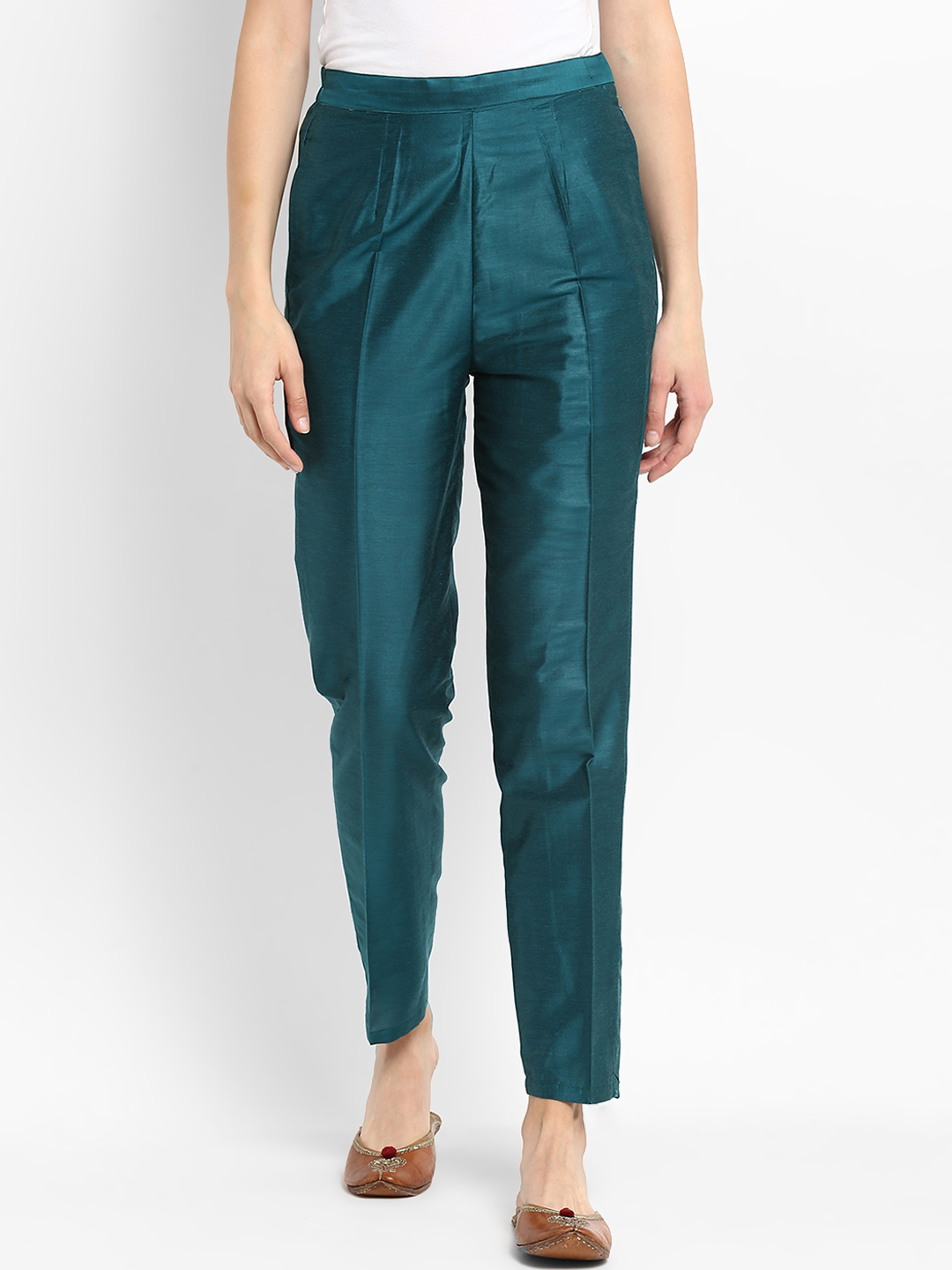 Blue Cotton Silk Ankle Pant-34283