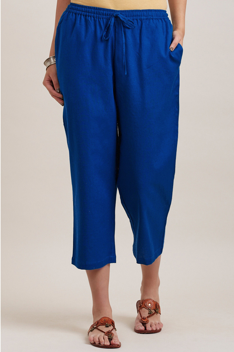 Blue Cotton Solid Women Culottes-33850