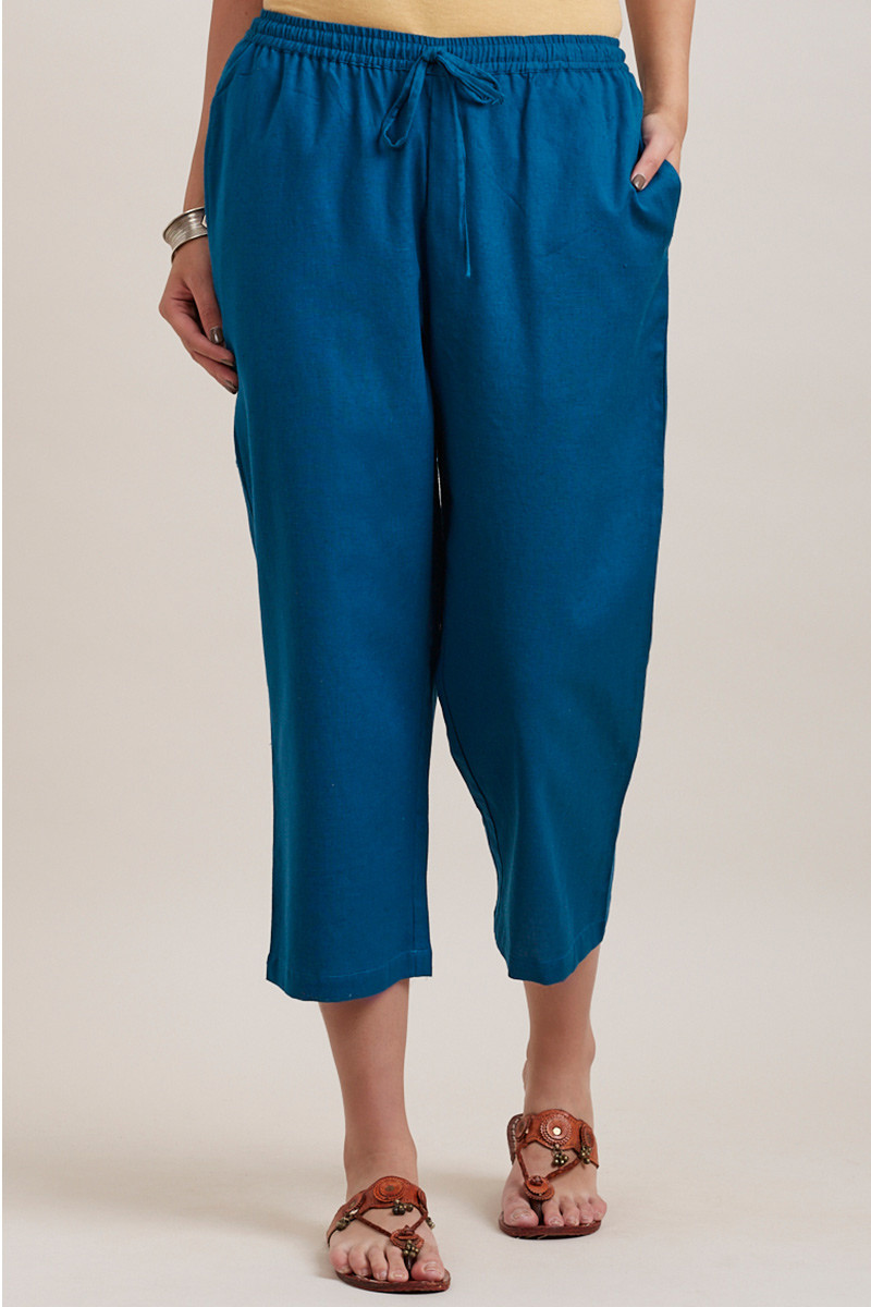 Blue Cotton Solid Women Culottes-33326