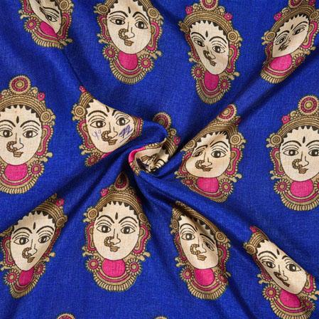Blue Cream Bridal Print Manipuri-Silk Fabric-18000