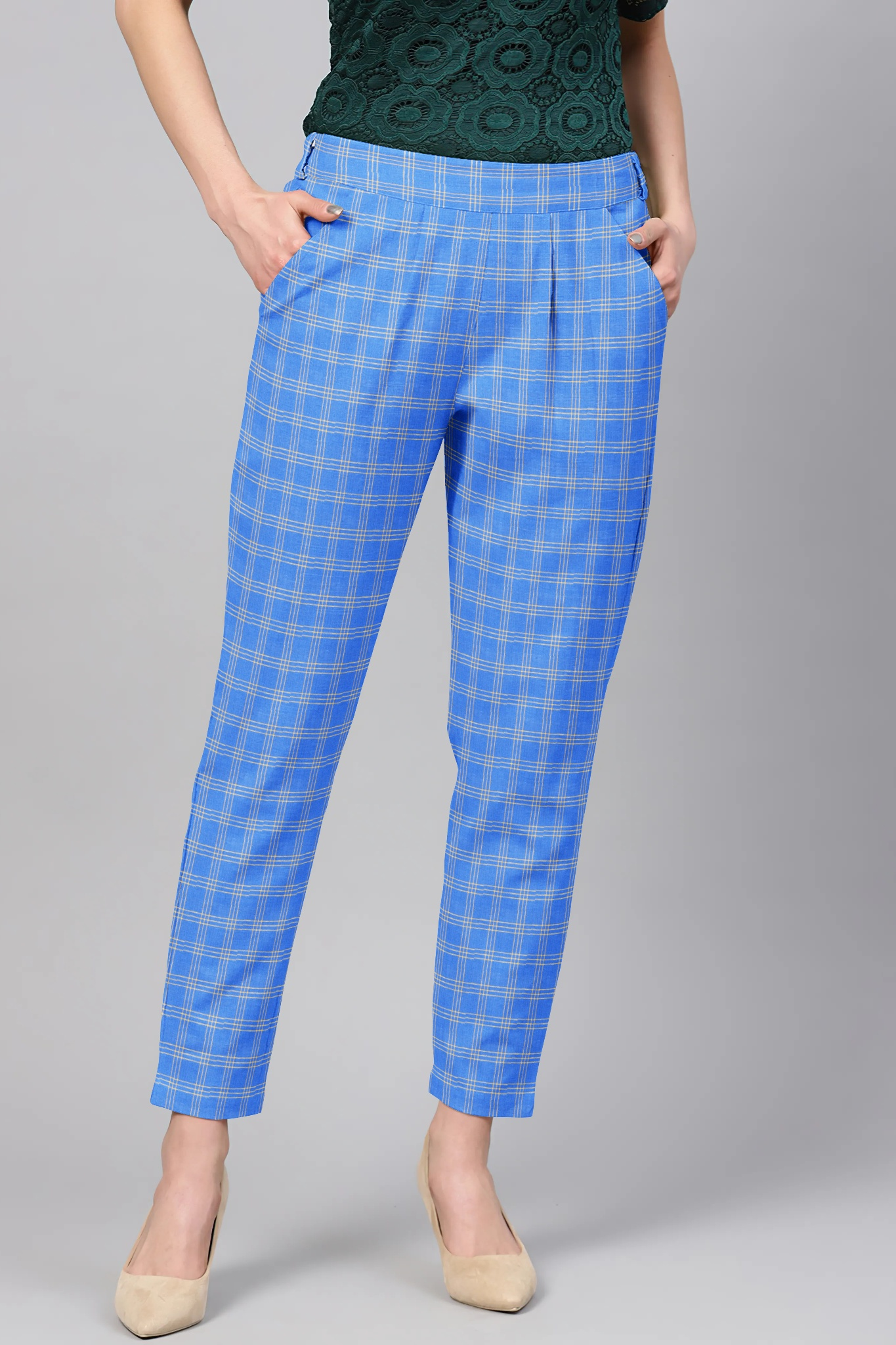 Blue Cream Cotton Check Regular Fit Solid Trouser-36115