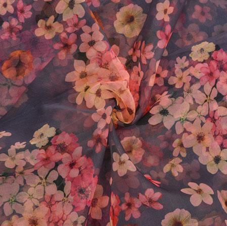 Blue Cream Floral Organza Silk Fabric-22330
