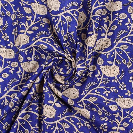 Blue Cream Manipuri Silk Fabric-16410