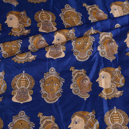 Blue-Cream and Gray Kuchipudi Face Kalamkari Manipuri Silk Fabric-16342