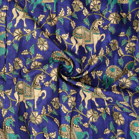 Blue-Cream and Green Horse Pattern Kalamkari Manipuri Silk Fabric-16270