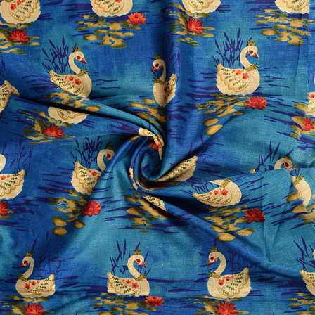 Blue-Cream and Green Kalamkari Manipuri Silk Fabric-16212