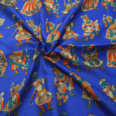 Blue-Cream and Orange Dancing Mudra Pattern Kalamkari Manipuri Silk-16074