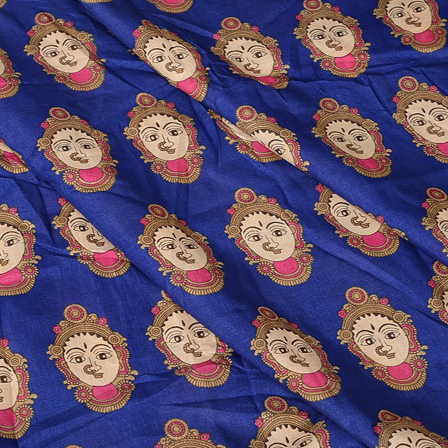 Blue-Cream and Pink Durga Devi Design Manipuri Kalamkari Silk -16179