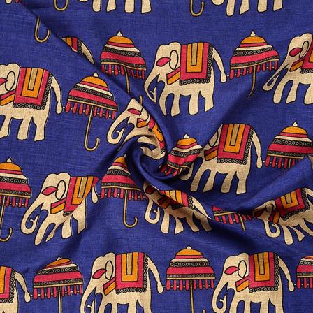 Blue-Cream and Pink Elephant Design Kalamkari Manipuri Silk Fabric-16216