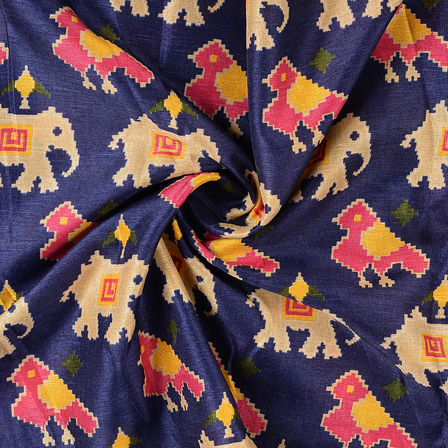 Blue-Cream and Pink Elephant Kalamkari Manipuri Silk Fabric-16285