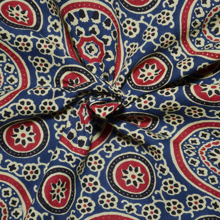 Blue-Cream and Red Flower Pattern Ajrakh Block Print Fabric-14055