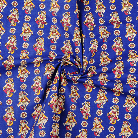 Blue-Cream and Yellow Cotton Kalamkari Fabric-10116