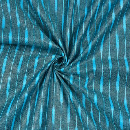 Blue Cyan Ikat Cotton Fabric-11109