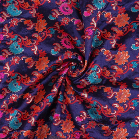 Blue Cyan and Orange Floral Banarasi Silk Fabric-9308