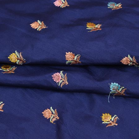 Blue Cyan and Peach Flower Chinnon Embroidery Fabric-29270