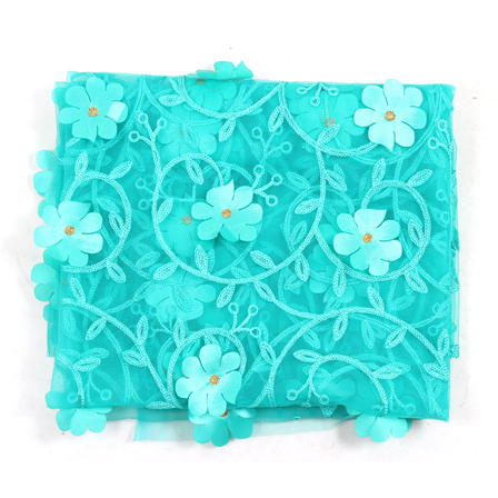 Blue Flower Net Embroidery Fabric-60865
