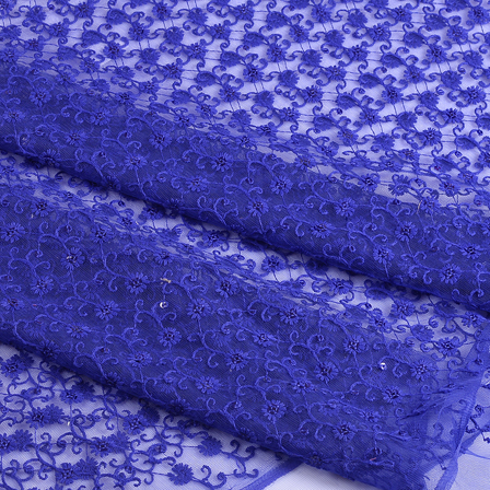 Blue Flower Sequin Net Fabric-60668