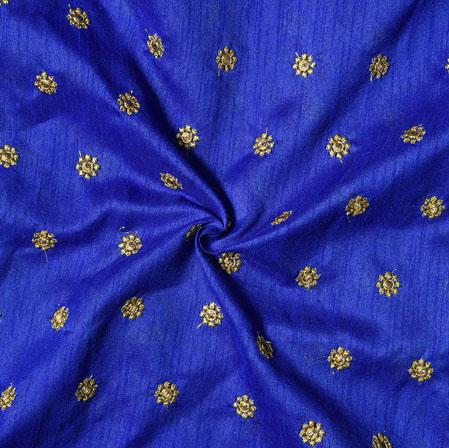 Blue Golden Embroidery Silk Banglori Fabric-18511