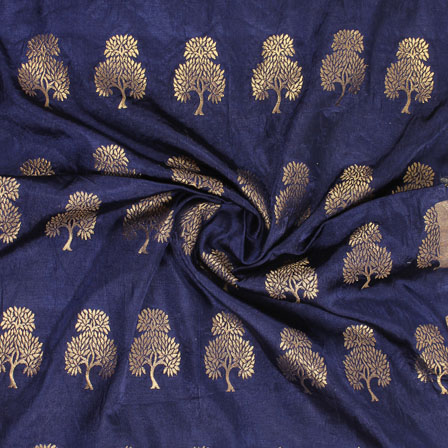 Blue Golden Brocade Satin Fabric-9026