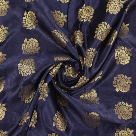 Blue Golden Brocade Satin Silk Fabric-9031