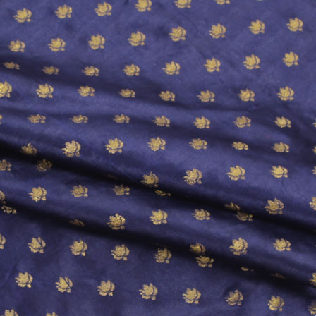 Blue Golden Brocade Satin Silk Fabric-9037