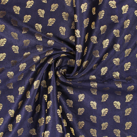 Blue Golden Brocade Satin Silk Fabric-9040