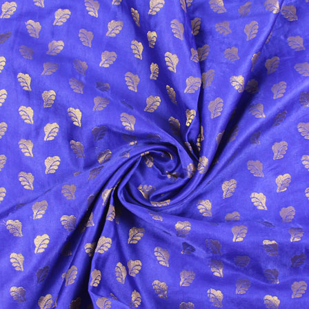 Blue Golden Brocade Satin Silk Fabric-9041