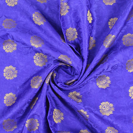 Blue Golden Brocade Satin Silk Fabric-9045