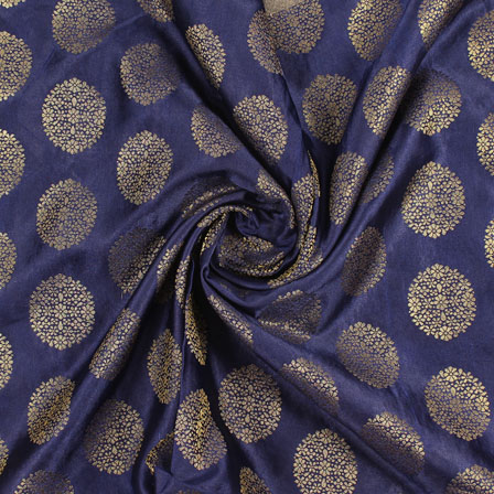 Blue Golden Brocade Satin Silk Fabric-9051