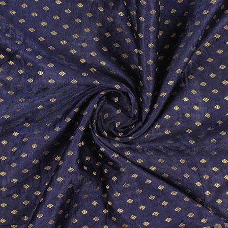 Blue Golden Brocade Satin Silk Fabric-9052