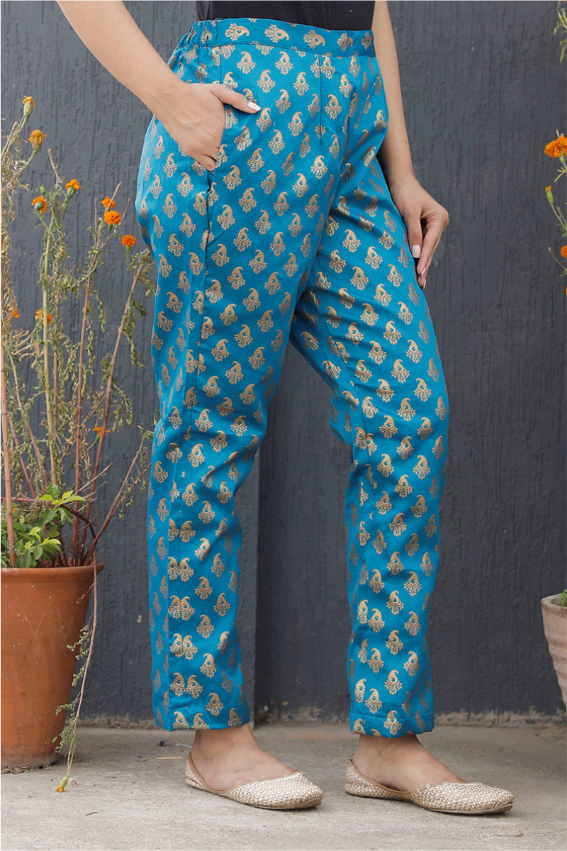 Blue Golden Brocade Silk Ankle Women Pant-34192