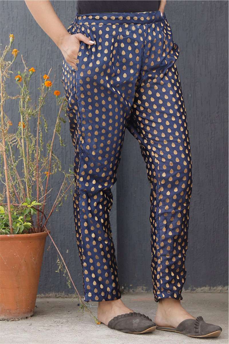 Blue Golden Brocade Silk Ankle Women Pant-34204
