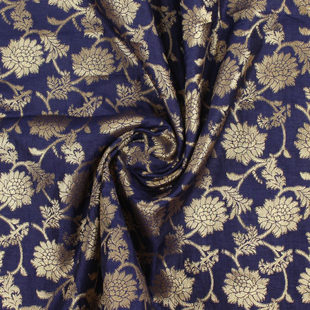 Blue Golden Brocade Silk Fabric-9003
