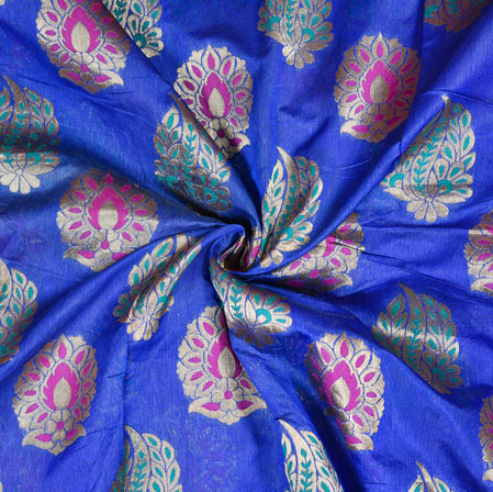 Blue Golden Brocade Silk Leaf Fabric-12958