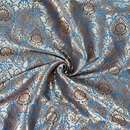 Blue Golden Brocade Silk Leaf Fabric-12986