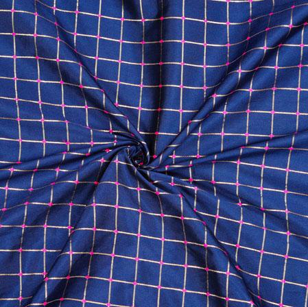 Blue Golden Checks Zari Taffeta Silk Fabric-12650