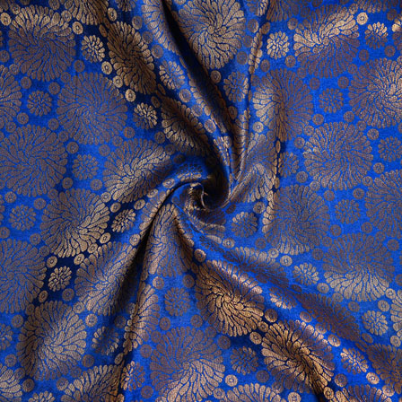 Blue Golden Circle Chanderi Zari Silk Fabric-12019