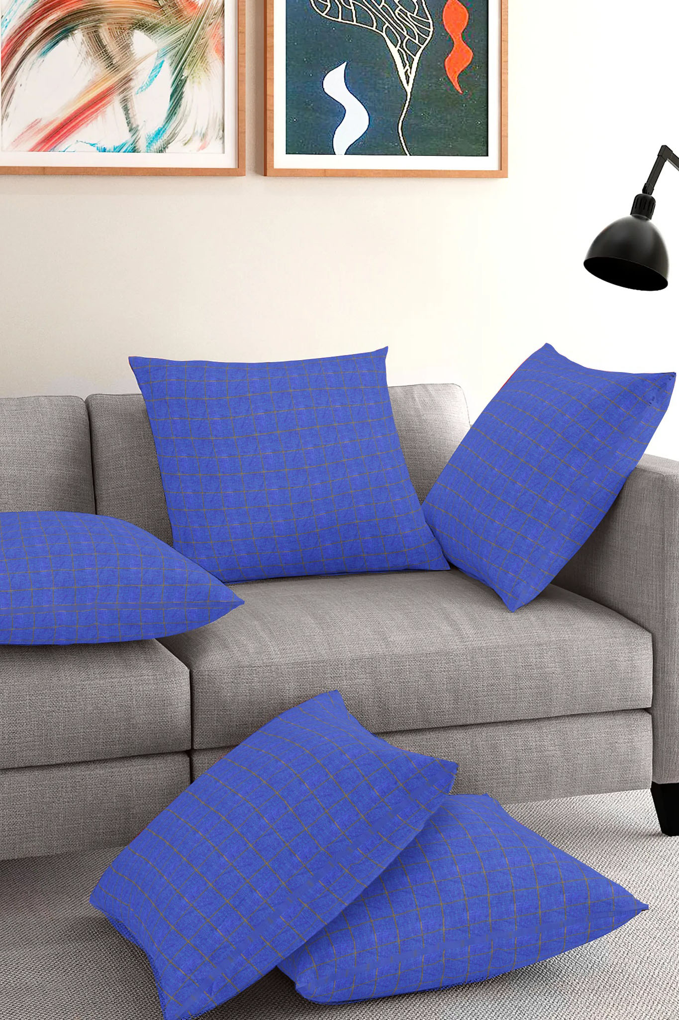 Set of 5-Blue Golden Cotton Cushion Cover-35388-16x16 Inches