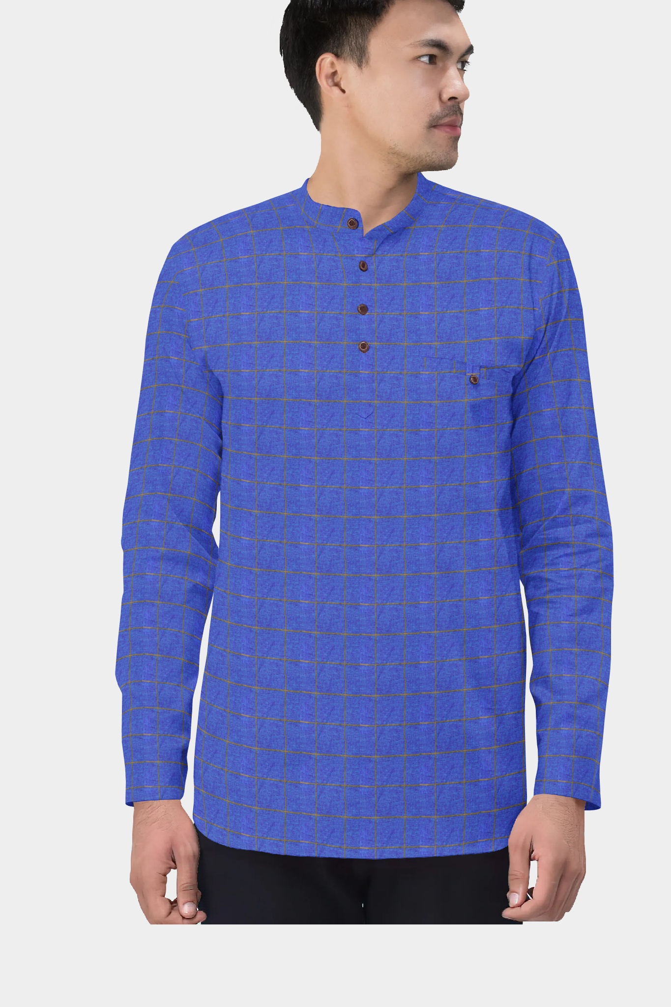 Blue Golden Cotton Check Short Kurta-35432