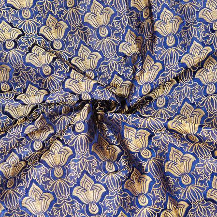 Blue Golden Floral Banarasi Silk Fabric-12563